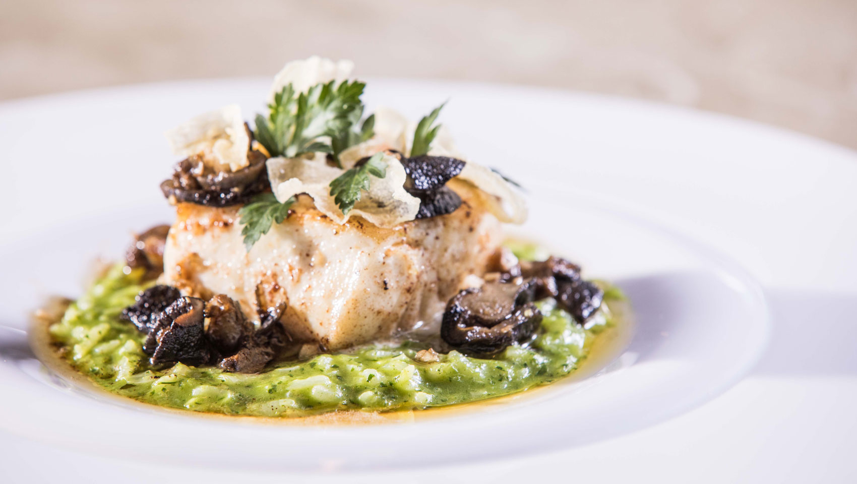 Halibut, Mushrooms, bed of basil risotto