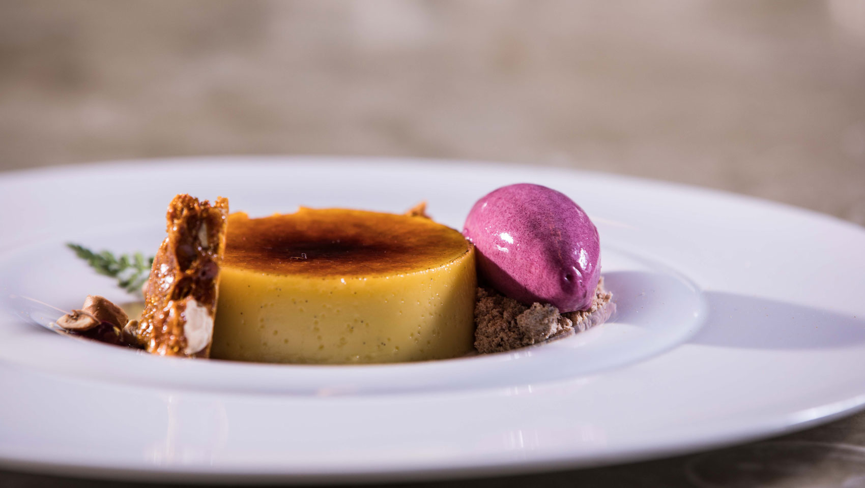 Crème brulee, Toffee, Purple ice cream