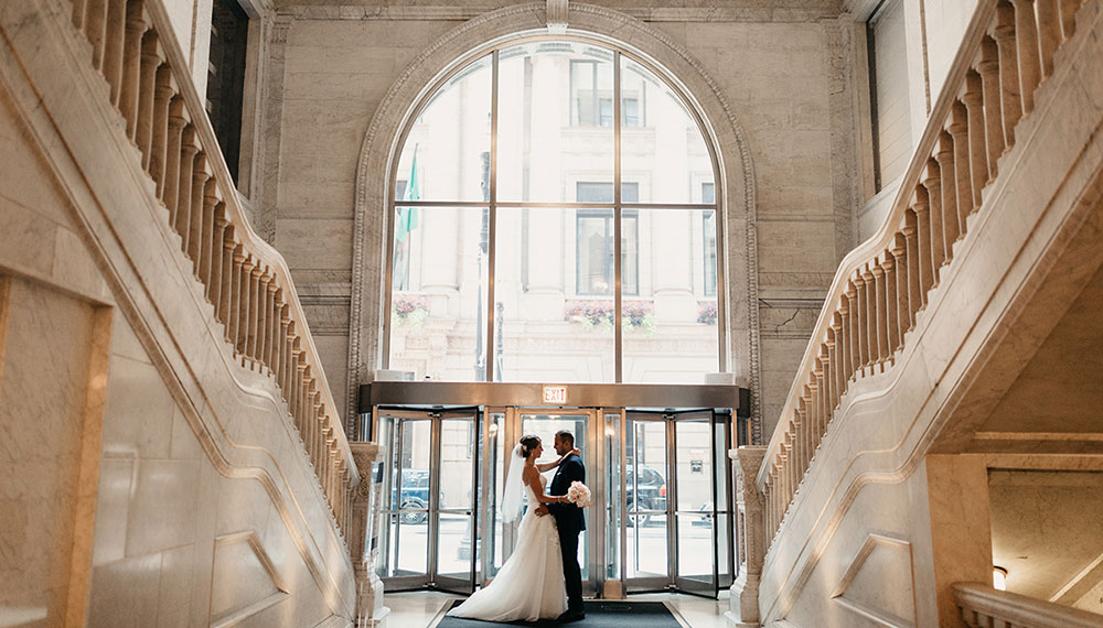 Newlyweds grand staircase
