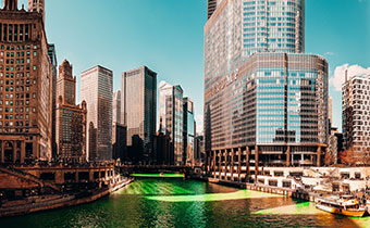 Chicago River in green