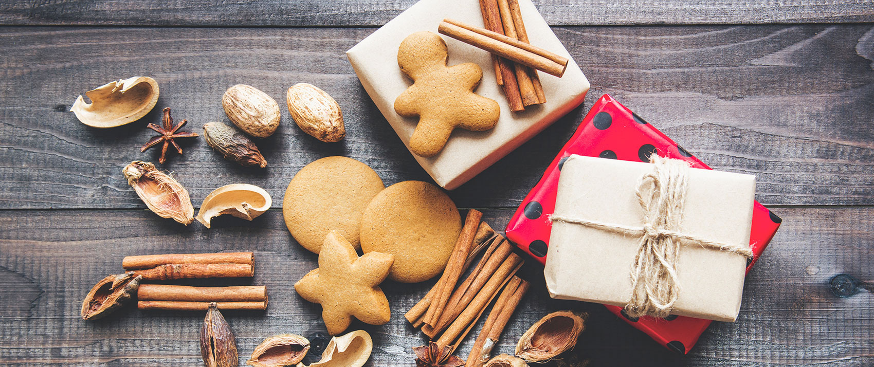 holiday cookies, spices, and gifts
